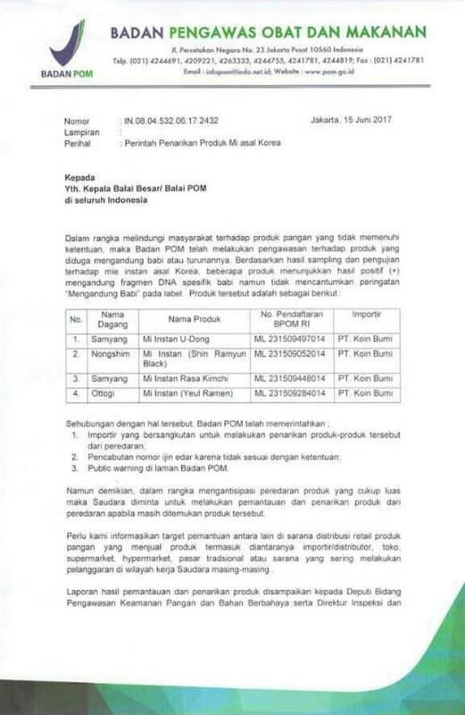 Surat Perintah Penarikan Mie Mengandung Babi BPOM
