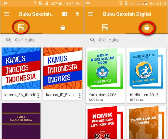Tab Download dan Tab Perpustakaan Buku BSE Mahoni