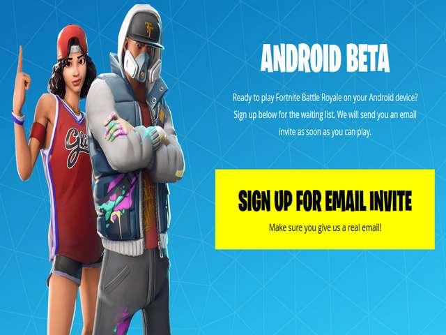 Halaman Pendaftaran Fortnite Android Beta