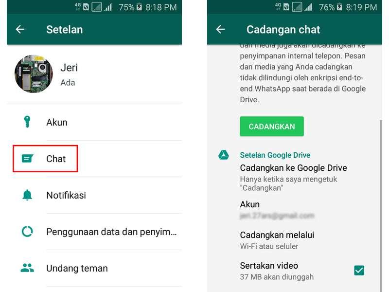 Mencadangkan WhatsApp Ke Google Drive