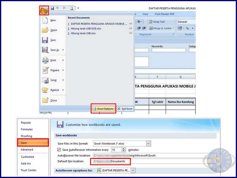 Lokasi Tempat Penyimpanan Dokumen Excel Default