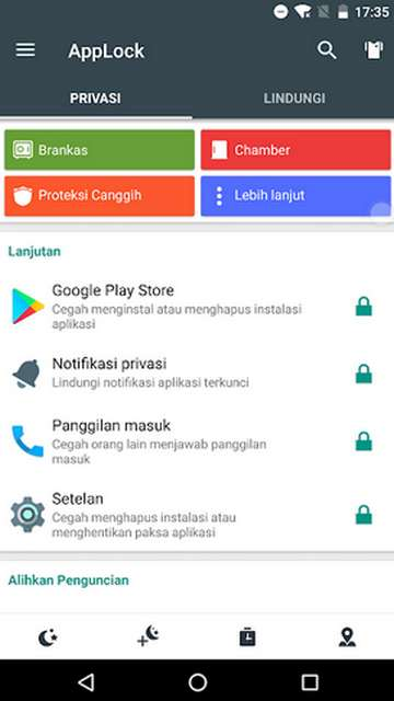 Pilih aplikasi yang akan dikunci dengan cara mengaktifkan ikon kunci disampingnya