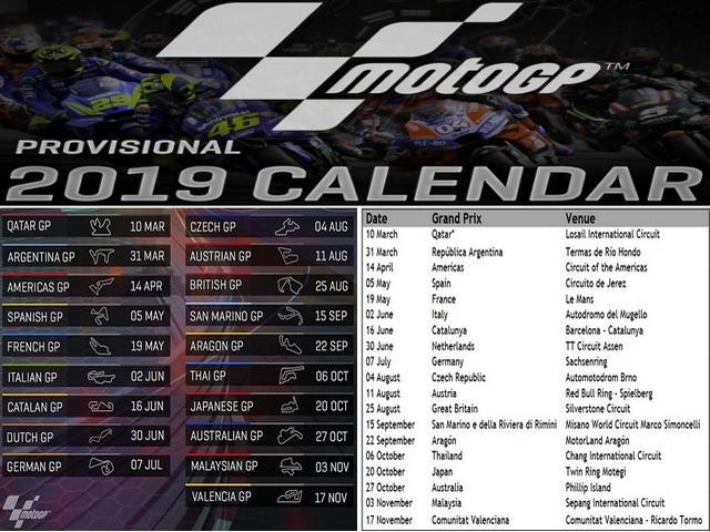 Download Jadwal dan Kalender Sementara MotoGP 2019