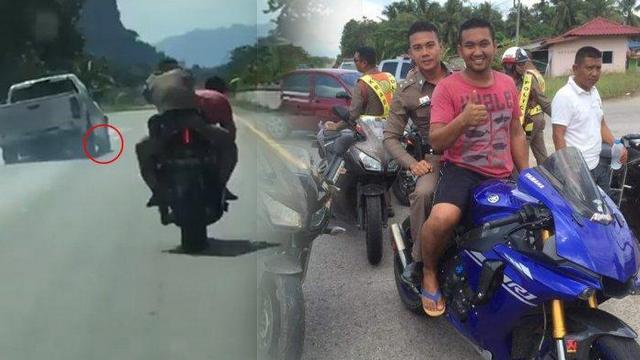 Sookoon bersama Polisi menggunakan Yamaha R1 Kejar Pelaku