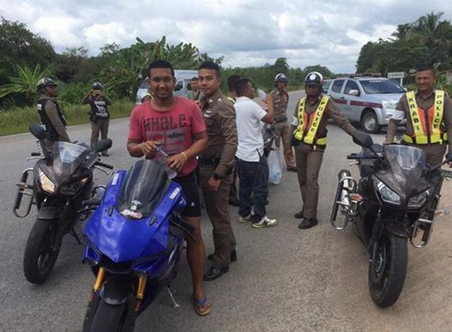 Yamaha R1 yang dikendarai Sookoon bersama Polisi