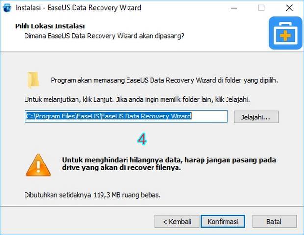 Instal EaseUS Data Recovery Wizard di Partisi Aman