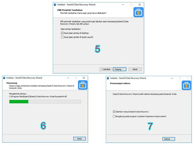 Proses Instal EaseUS Data Recovery Wizard