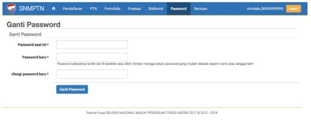 Ganti Password SNMPTN