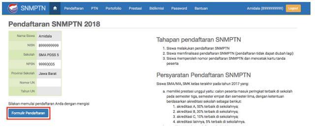 Halaman Pendaftaran SNMPTN 2019