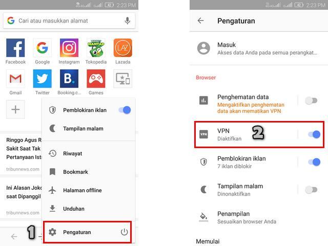 Cara Mengaktifkan VPN Gratis di Aplikasi Browser Opera Android