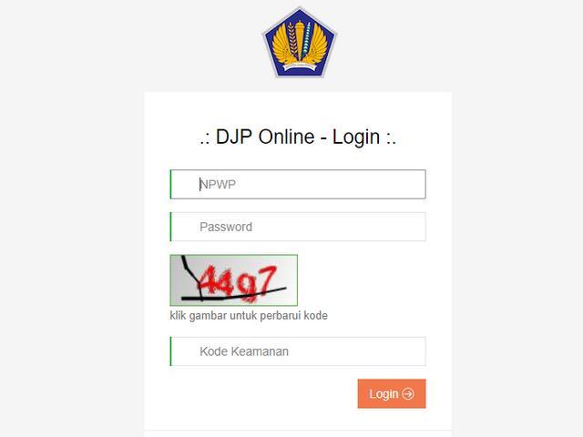 Halaman Login DJP Online