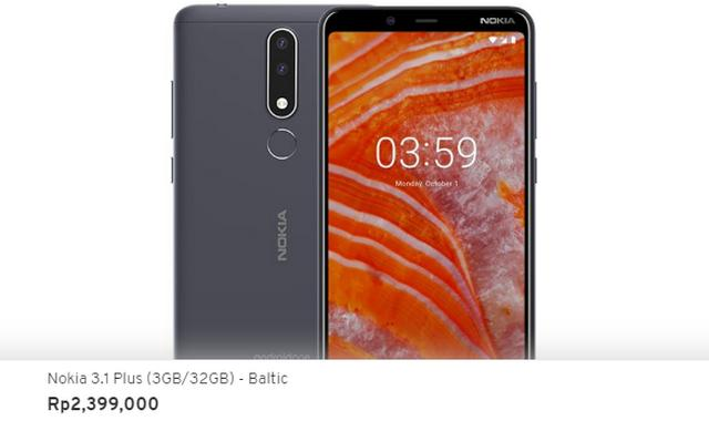 Harga Nokia 3.1 Plus di Indonesia