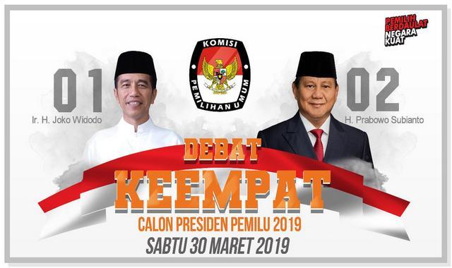 Jadwal Debat Capres 2019 Keempat Jokowi VS Prabowo Malam ini.
