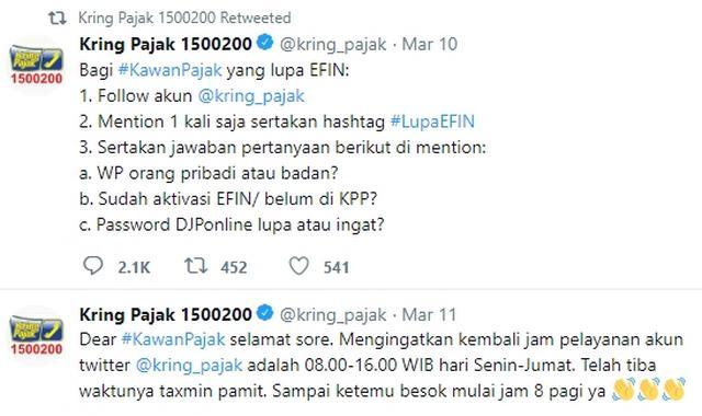 Layanan Lupa EFIN melalui Twitter Kring Pajak