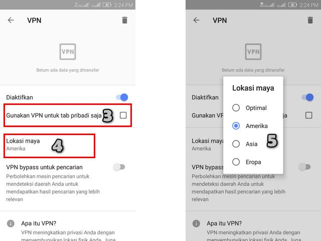 Pilih Lokasi Server VPN di Aplikasi Browser Opera