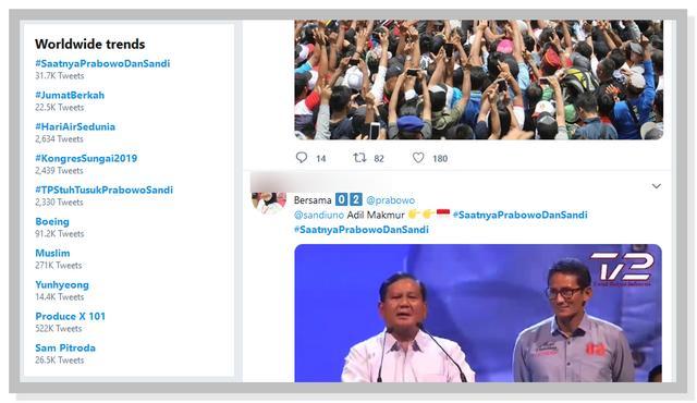 Tagar #SaatnyaPrabowoDanSandi Trending Topik di Twitter