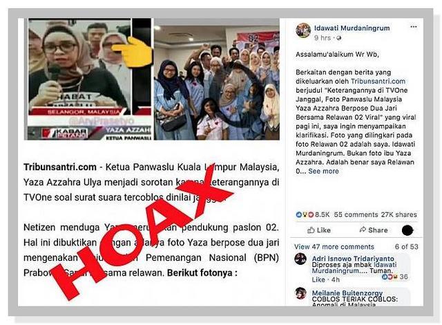 HOAKS Berita dan Gambar Ketua Panwaslu Kuala Lumpur Berpose Dua Jari