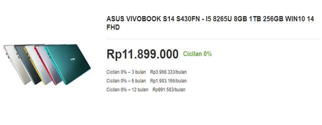 Harga Laptop ASUS VivoBook S14 S430FN untuk Desain Grafis