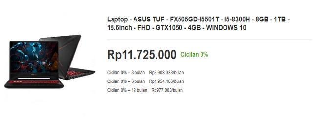 Harga Laptop Asus TUF Gaming FX505GD I5051T untuk Desain Grafis