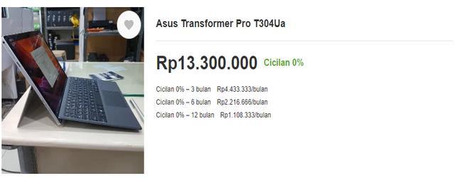 Harga Laptop Asus Transformer Pro T304UA untuk Desain Grafis