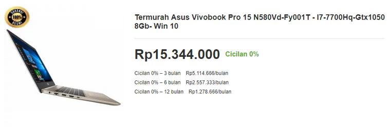 Harga Laptop Asus VivoBook Pro 15 untuk Desain Grafis