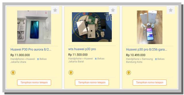 Harga Huawei P30 Seken di OLX
