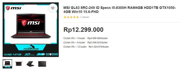 Harga Laptop Gaming MSI GL63 8RC-249 di Bukalapak