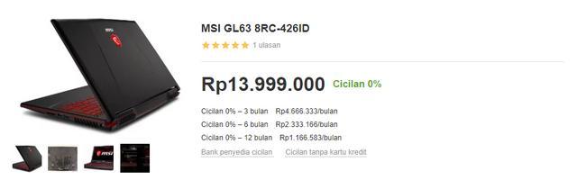 Harga Laptop Gaming MSI GL63 8RC-426ID di Bukalapak