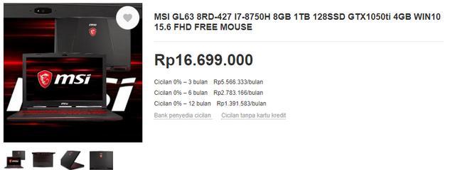 Harga Laptop Gaming MSI GL63 8RD-427 di Bukalapak