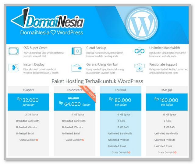 Hosting Terbaik untuk WordPress Gratis Domain