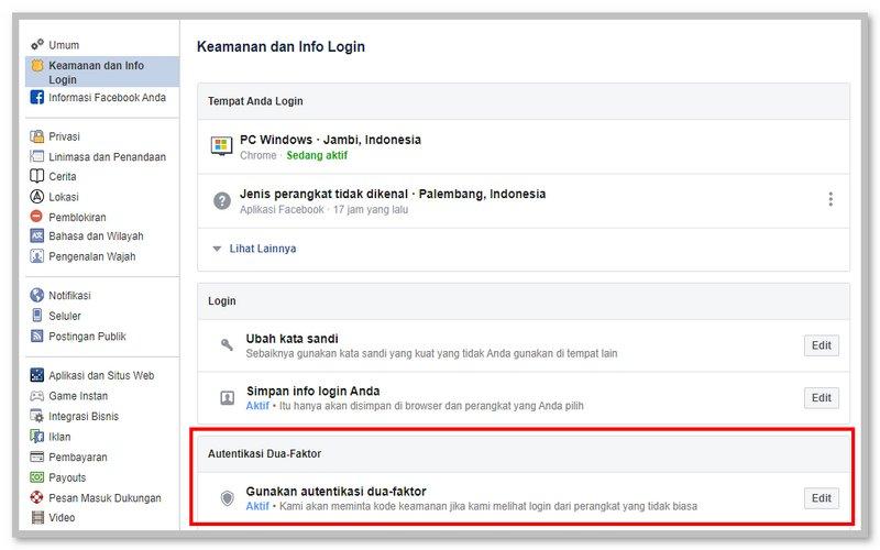 Mengaktikan Autentikasi Dua-Faktor di Facebook