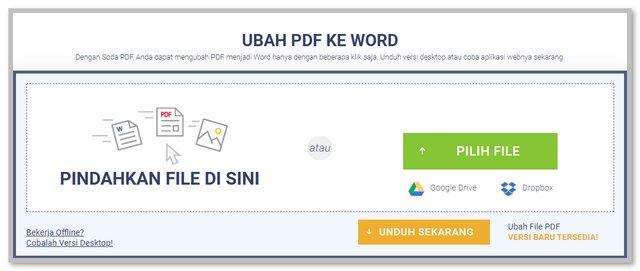 Mengubah PDF ke Word dengan Soda PDF