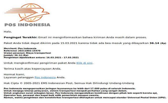 Email Hacker Mengatasnakaman PT Pos Indonesia
