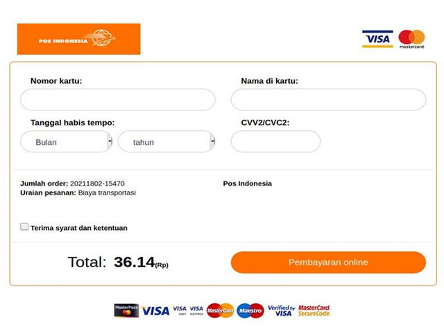 Laman Pembayaran Pos Indonesia Palsu