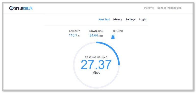 Pengujian Kecepatan Download dan Upload di SpeedCheck